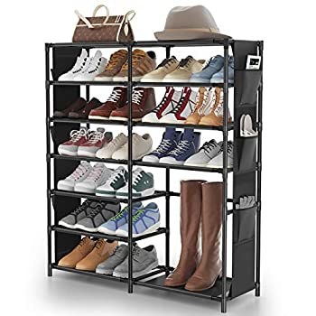 7-Tier Shoe Rack Shoe Shelf Organizer JOMARTO 24-30 Pairs Shoes and Boots Storage Organizer Metal Shoe Tower with Side Hanging Shoe Pockets for Entryway,Closet and Bedroom¡