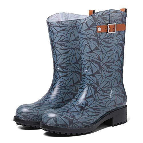 Camfosy - Botas de Lluvia para Mujer, Totalmente Impermeables, Botas de Agua para Mujer, Originales, Altas, Botas de Agua con Estampado, Zapatos de Lluvia para jardín
