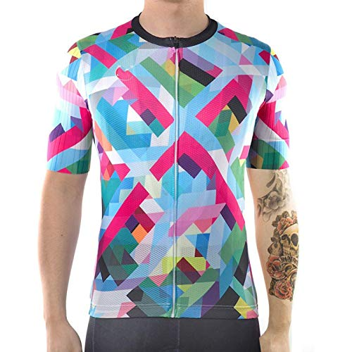 HDDNZH Mens Cycling Jersey - Summer Short Sleeve Colorful Printing Large Size Top Shirt Quick Dry Mtb Bicycle Clothing Bike Wear Clothes For Cycling Racing Mountain Sportswear,L