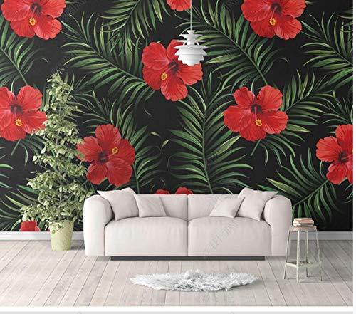 Behang 3D Safflower Plant Patroon Slaapkamer Woonkamer Achtergrond Muurbehang Decoratieve Schilderij Naadloze Wandbekleding Non-Woven muurschildering 280 x 200 cm.