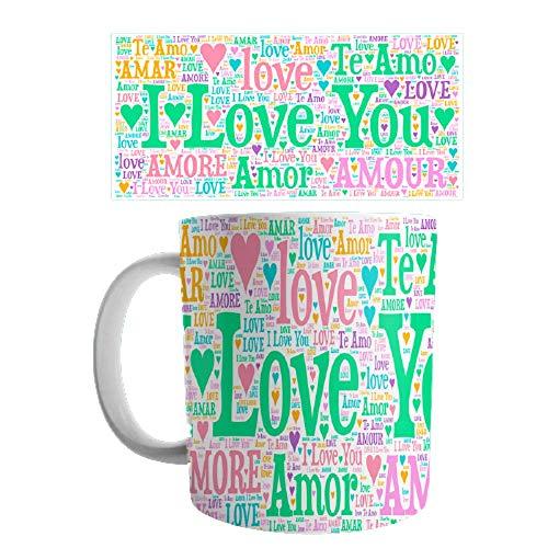 Linyatingoshop - Tazza per San Valentino, con scritta in inglese 'I Love You Love', diverse lingue – Fluo – Idea regalo per San Valentino