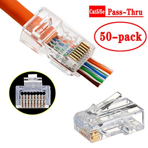 RJ45 Cat5 Cat5e Connectors End Pass Through Gold Plated 8P8C UTP Ethernet Network Plug(50Pack)