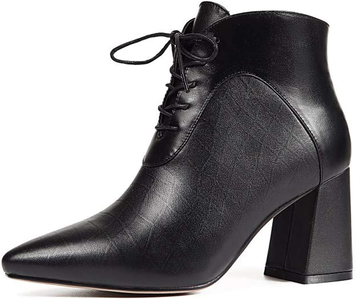 Nine Seven Women's Genuine Leather Pointed Toe Mid Chunky Heel Handmade Comfort Side Zipper Lace Up Walking Dress Ankle Booties