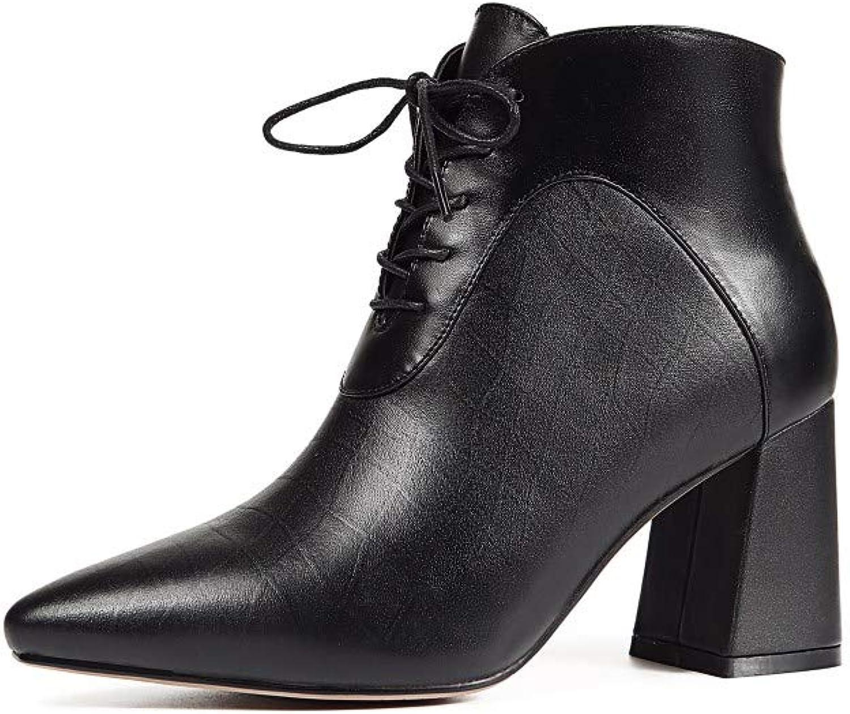 Nio Sju kvinnors genuina läder spetsig tå, midja Chunky Heel Handgjord Comfort Side Zipper Lace Up gående Dress Booslipss