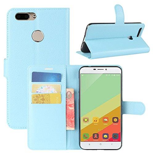 HualuBro Oukitel U20 Plus Hülle, Premium PU Leder Leather Wallet HandyHülle Tasche Schutzhülle Flip Hülle Cover für Oukitel U20 Plus Smartphone (Blau)