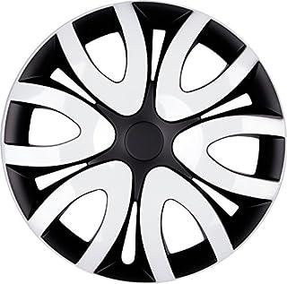 PREMIUM Radkappen Radzierblenden Radblenden 'Modell: Mika' 4er Set, Farbe:Schwarz Weiß, Felgendurchmesser:14 Zoll