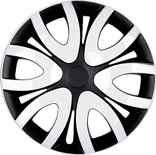 PREMIUM Radkappen Radzierblenden Radblenden \'Modell: Mika\' 4er Set, Farbe:Schwarz-Weiß, Felgendurchmesser:14 Zoll