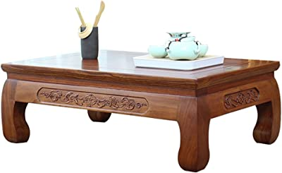 Solid Wood Tea Table Balcony Low Table Tatami Table Living Room Small Coffee Table Chinese Calligraphy Table (Color : A, Size : 80x50x30cm)