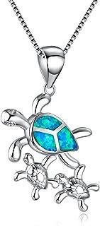 Mom Gifts Sea Turtle Blue Opal Women Pendant Necklace Earrings Jewelry Sets