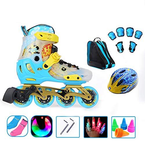 HHYK Inline-Skates für Anfänger, verstellbar, einreihig, für Kinder und Damen, professionelle Rollschuhe (blau und rosa) (Farbe: Blau, Größe: M (33–36))
