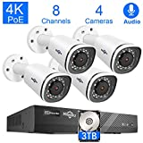 Hiseeu 4K PoE Security Camera System, 8CH 8MP Home Surveillance NVR System with 3TB HDD, 4Pcs 4K IP Wired Camera with Night Vision for Indoor Outdoor Security, 30 Days Video/Audio Loops Recording