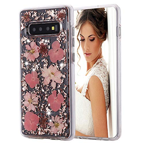 Inkomo Galaxy S10+ Plus Case, Women Luxury Fashion Natural Flower Glitter Foil Sparkle Hard Back Cover with Clear TPU Bumper Protective Phone Bling Case for Samsung Galaxy S10+ 6.4'' (Pink Flowers)