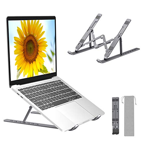 """Laptop Stand, Folding Portable Laptop Holder, 7 Levels Adjustable Aluminum Notebook Riser Mount, Ventilated Cooling Computer Stand, Compatible with MacBook, Dell, Lenovo, More 10-17"""" Laptops&Tablets"""