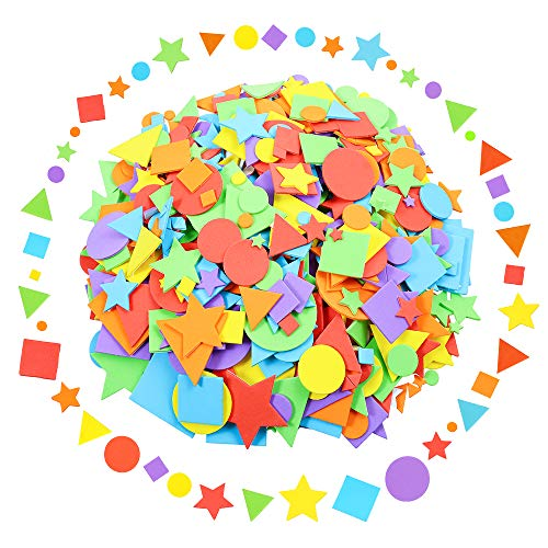 Sntieecr 1500 Pieces Assorted Colors Foam Geometry Stickers Mini Adhesive Geometry Shapes EVA Foam Stickers for DIY Art Craft (Circle, Square, Triangle, Pentagram)
