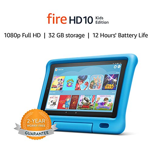 "Fire HD 10 Kids Edition Tablet | 10.1"" 1080p Full HD Display, 32 GB, Blue Kid-Proof Case"