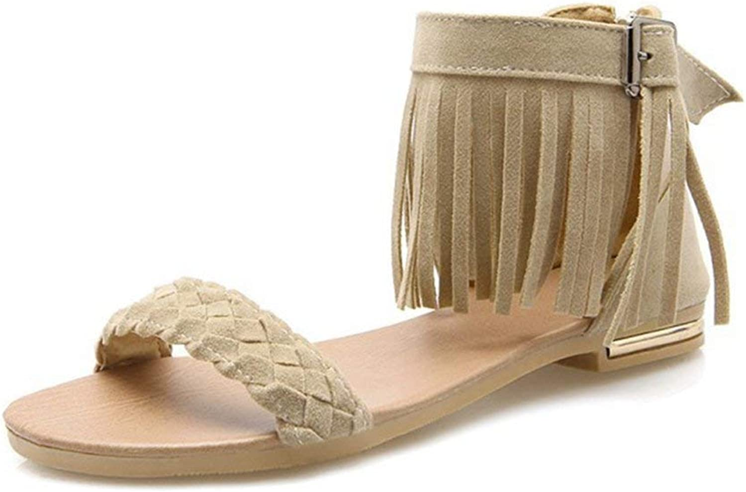 Fashion shoesbox Women's Fringe Flat Sandals Open Toe Comfort Buckle Zipper Tassel Casual Roman Dress Sandals shoes