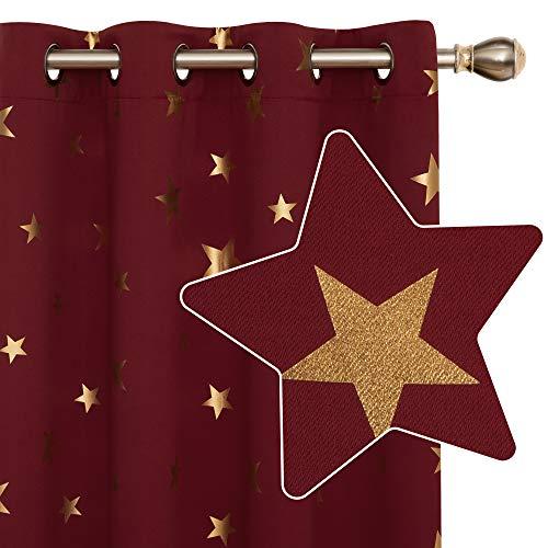Deconovo Cortina Opacas de Salon Dormitorio Moderno con Aislamiento Térmico Diseño Estrellas Estampados Dorados Decoración con Ojales 2 Paneles 140 x 245 cm Rojo Oscuro
