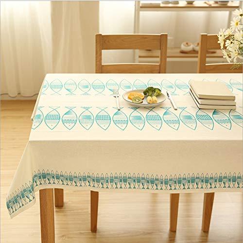LYDXD Coton Et Lin Nappe Lavable Calmar Deux Couleurs Simple Frais Couverture Littéraire Serviette Côté Comptoir Tissu Table Basse Tissu 140x260cm
