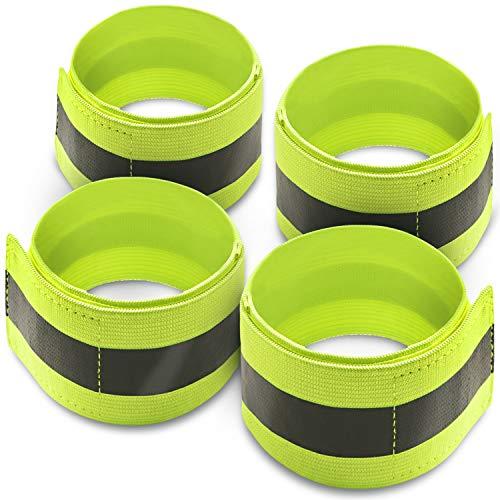 Movoja 4er-Set Reflektoren für Arme und Beine | für bessere Sichtbarkeit im Dunkeln | zum Joggen, Radfahren, Reiten UVM. | elastisch | mit Klettverschluss | neon-gelb | Reflektor Sicherheitsband