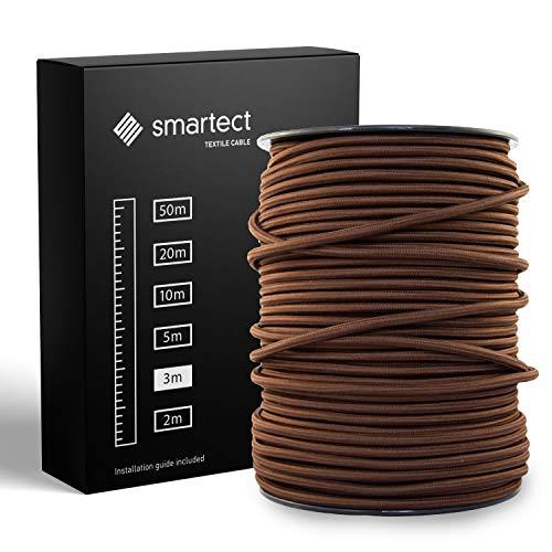 smartect Cavo Elettrico Tessuto - Marrone - 3 Metri Cavo tessile - Tripolare (3 x 0.75mm²) - Cavo Elettrico Rivestito per Fai da Te