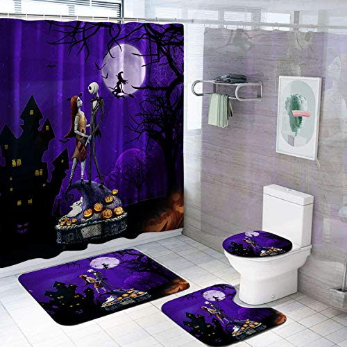 VASHU The Nightmare Before Christmas Shower Curtain Sets Anime Bathroom Decor Shower Curtain with Non-Slip Bathroom Rugs Set Waterproof Shower Curtain A