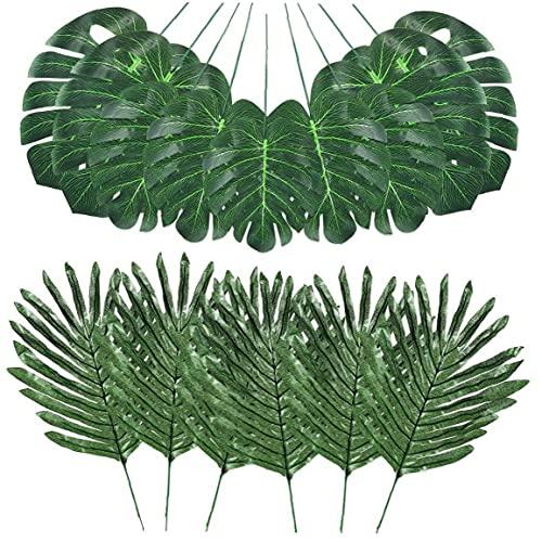 Ohomr Selva Hojas de simulación Artificiales Hojas de Palma Falso Planta Tropical vástagos de Hojas Verdes de Hawai para la decoración 48PCS