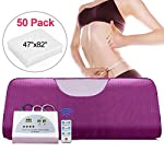 NAIZEA Sauna Blanket, Digital Far-Infrared Heat Sauna Blanket with 50pcs Plastic Sheetings, 2 Zone Sauna Slimming Blanket, Weight Loss Detox Therapy Anti Ageing Beauty Machine (Purple)