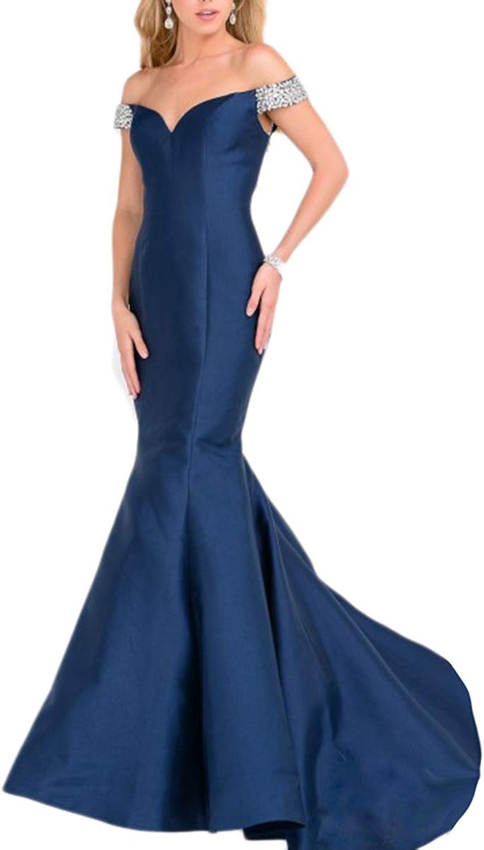 Beilite Women's Off Shoulder Satin Mermaid Evening Gowns Long Prom Dresses