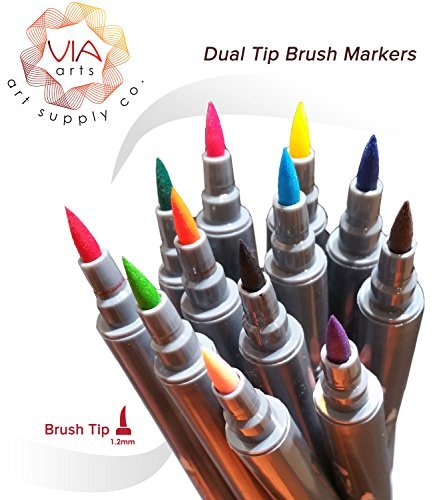 Via Art Dual Tip Brush Pens 12 - Brush Tip and Fine Tip Design/Manga Pens