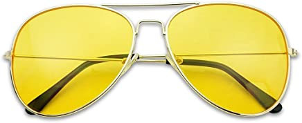 fb5f402ea14 SunglassUP - Oversized 80 s Vintage Style Yellow Night Driving Lens Round  and Square Sunglasses