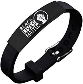 cmoonry Stainless Steel Engraved Black Lives Matter Bracelet Adjustable Silicone BLM Bracelet for Men Women Revolution Movement Jewelry Accessories