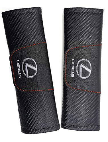 WEIWAN Seat Belt Covers for Lexus,2 pcs Black Carbon Fiber Car Seat Belt Cover Shoulder Strap Pads Safety Belt Shoulder Cushions Protective Sleeves with Printed Lexus Logo