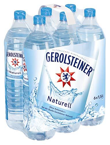 Gerolsteiner Naturell / Natürliches Mineralwasser ohne Kohlensäure / Geeignet für eine natriumarme Ernährung / 6 x 1,5 L PET Einweg Flaschen