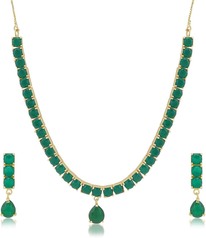 Efulgenz Indian Bollywood Gold Plated Green Crystal Rhinestone Wedding Bridal Choker Necklace Earring Jewelry Set