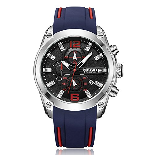 AYNEFY Round Herrenuhr,Round Watch Fashion Quarzuhr Herren Armbanduhr 30M wasserdichte Herren Quarz Analoguhr Silikonarmband Runde Armbanduhr(Blaues Armband)