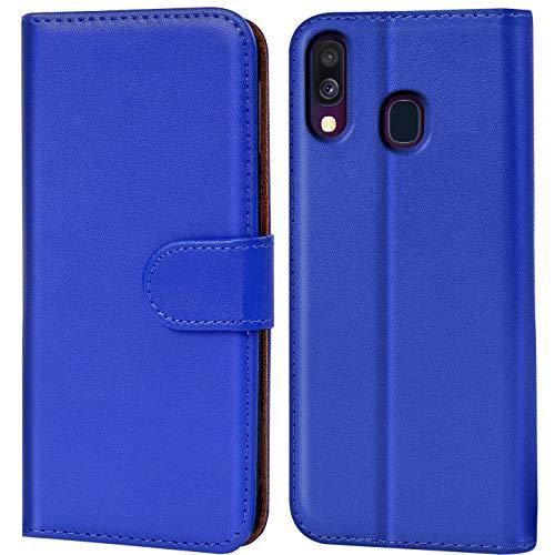 Verco Galaxy A40 Hülle, Handyhülle für Samsung Galaxy A40 Tasche PU Leder Flip Hülle Brieftasche - Blau