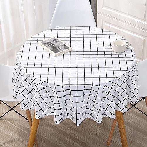 Kuingbhn Rectangular Mantel de Lavable Estilo Moderno PVC Simple Tamaño Seleccionable de Cocina Salón Blanco Un Círculo de 180 cm de Diámetro