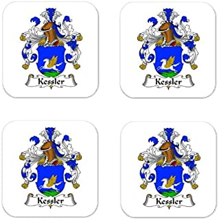 Kessler Family Crest Square Coasters Coat of Arms Coasters - Set of 4