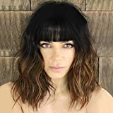 Nnzes Short Wavy Wig with Bangs for Women Shoulder Length Bob Curly Women's Charming Synthetic Wigs with Natural Wavy 14 Inches Black To Brown Heat Resistant Hair for Daily Party Wear