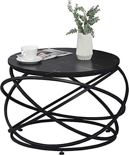 Mesa de centro de escritorio de efecto de mármol de estructura de diseño, efecto de escritorio redondo efecto de mármol,Black