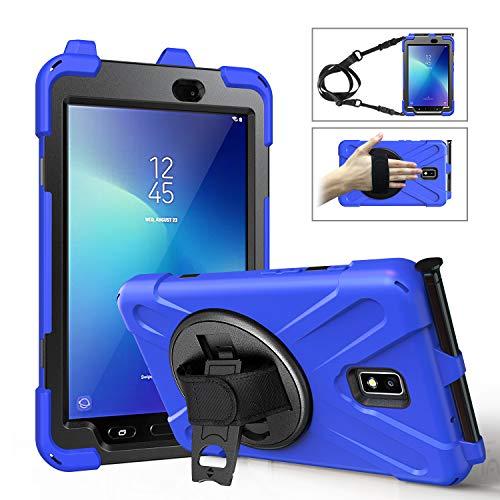 MoKo Hülle Passend für Samsung Galaxy Tab Active 2 8, Stoßfeste Haltbare Schutzhülle mit 360 drehbarem Ständer Handschlaufe Schultergurt Geeignet für Galaxy Tab Active 2 8 SM-T390/T395/T397 - Blau