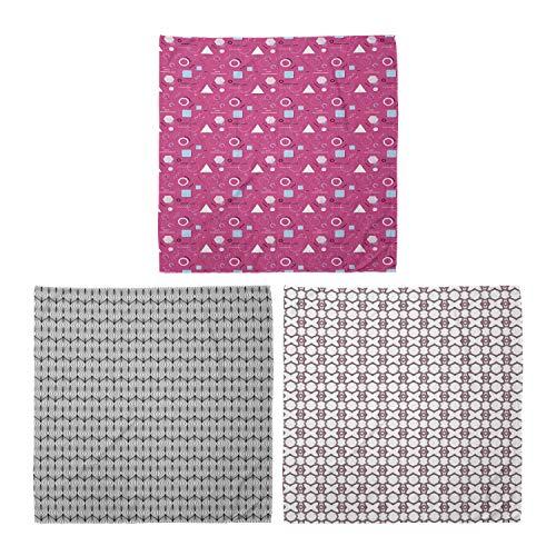 ABAKUHAUS Unisex Bandana, Memphis Style Design abstrakte Fliese gewellte Linien Lila Formen, 3er Pack, Mehrfarbig