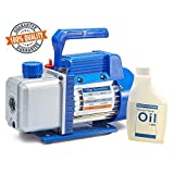 NewPosition 4.0 CFM Single-Stage 5 Pa Rotary Vane Economy Vacuum Pump for HVAC, Air Conditioner Refrigerant,Food Packaging,Milking, 1/4' Flare Inlet Port, Blue