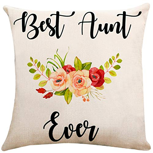 ZUEXT Spring Flowers Aunt Throw Pillow Covers 18x18 Inch Double Sided, Cotton Linen Square Burlap Indoor Cushion Cover Pillowcase for Sofa Car Home Decor Birthday Gift for Aunt(Best Aunt Ever)