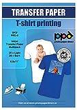 PPD A4 Carta Trasferibile Termoadesiva Per Stampanti Ad Inchiostro - T-Shirt E Tessuti Di Colore Chiaro (20 fogli) E Scuro (20 fogli) - PPD-5-40