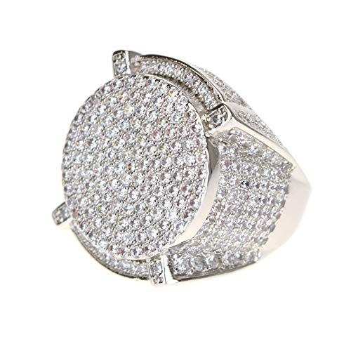 Mens 14K Gold Plated A+ CZ Sparkling Round OG Pimp Ring Size 8