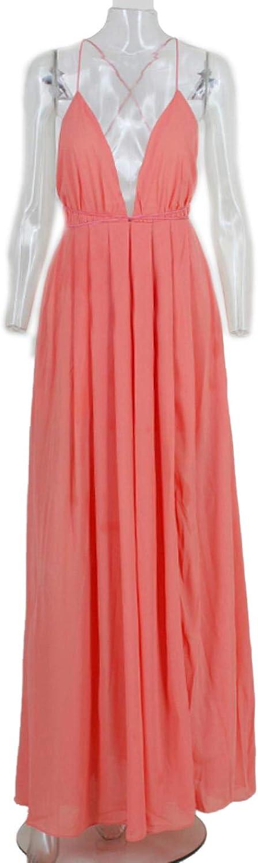 PHeAEy Women Simple V-Neck Sleeveless Dress High Waist Hem Split Retro Party