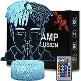 Famoso rapero / cantante3D LED Luz de noche Ilusión óptica Lámpara de mesa Luz iluminación 16 colores de control remoto con Acrílico Plano & ABS Base & Cargador usb