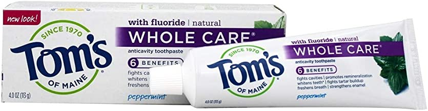 Tom's of Maine Peppermint Whole Care Anticavity Toothpaste, 4.0 Oz