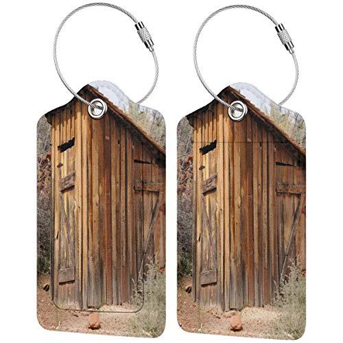 WINCAN Gepäckanhänger Kofferanhänger mit Adressschild,Outhouse Alte Olivenbäume drucken,Kofferanhänger zur Identifizierung von Tasche, Koffer und Gepäck auf Reisen,(2 Stück)